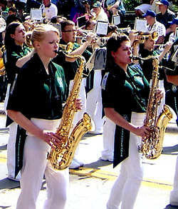 Tenor sax performers in parade